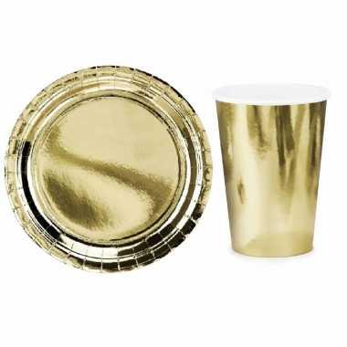 Vintage tafel dekken feestartikelen goud kleur 24x bordjes/24x drink bekers
