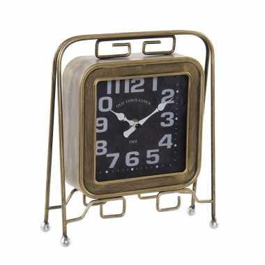 Vintage tafelklok retro rocker goud 26 cm metaal