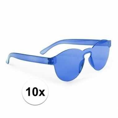Vintage toppers - 10x blauwe verkleed zonnebrillen voor volwassenen
