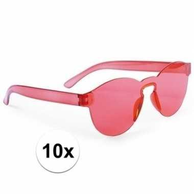 Vintage toppers - 10x rode verkleed zonnebrillen voor volwassenen