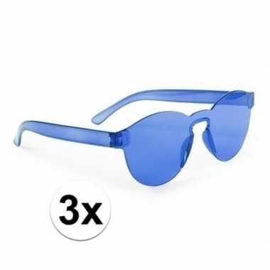 Vintage toppers - 3x blauwe verkleed zonnebrillen voor volwassenen