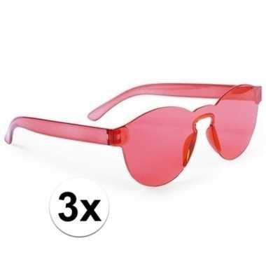 Vintage toppers - 3x rode verkleed zonnebrillen voor volwassenen