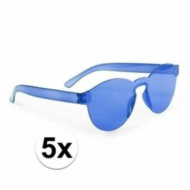 Vintage toppers - 5x blauwe verkleed zonnebrillen voor volwassenen
