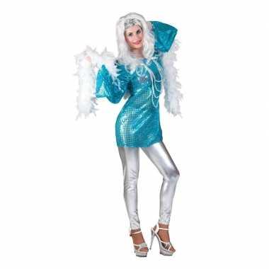 Vintage toppers - blauwe disco queen seventies verkleed jurk voor dam