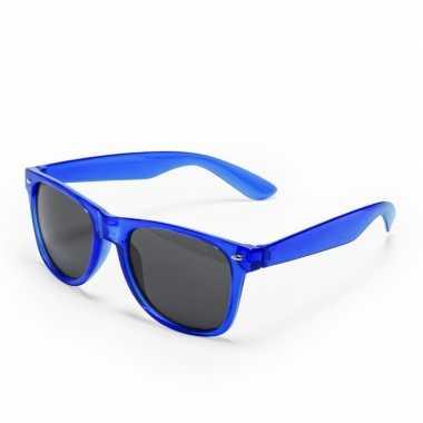 Vintage toppers - blauwe retro model zonnebril voor volwassenen