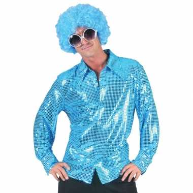 Vintage toppers - disco pailletten blouse blauw voor heren