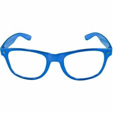 Vintage toppers - verkleed bril metallic blauw