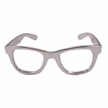 Vintage toppers - verkleed bril metallic zilver