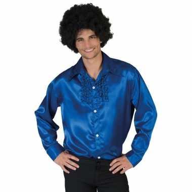 Vintage toppers - voordelige blauwe rouche blouse voor heren