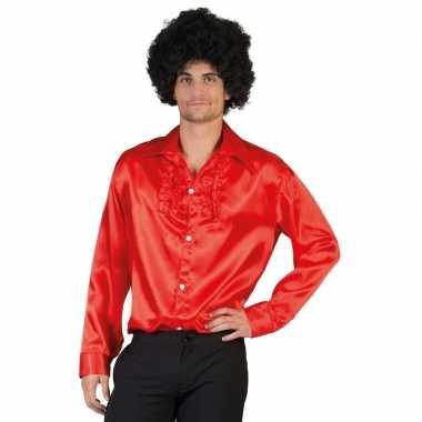 Vintage toppers - voordelige rode rouche blouse voor heren