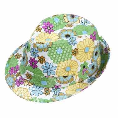 Vintage trilby hoedje met bloemen en pailletten