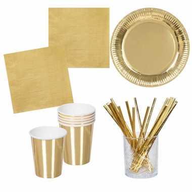 Vintage verjaardag feest/party tafel dekken set in het goud - bordjes/bekers/servetten/rietjes