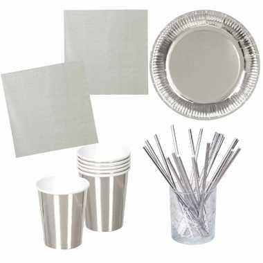 Vintage verjaardag feest/party tafel dekken set in het zilver - bordjes/bekers/servetten/rietjes
