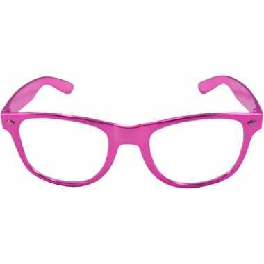 Vintage verkleed bril metallic roze