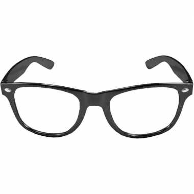 Vintage verkleed bril metallic zwart