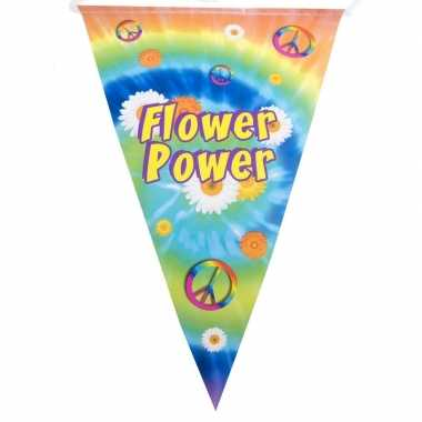 Vintage vlaggenlijn flower power hippie feest decoratie 5 meter