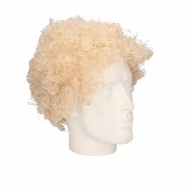 Vintage voordelige blonde krullenpruik voor volwassenen