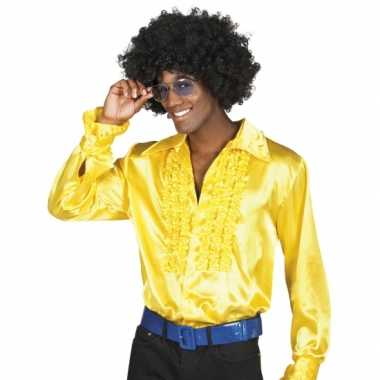 Vintage voordelige gele rouche blouse