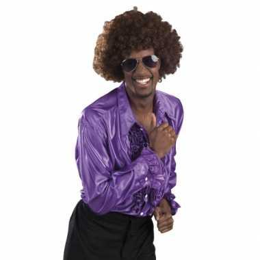 Vintage voordelige paarse rouche blouse