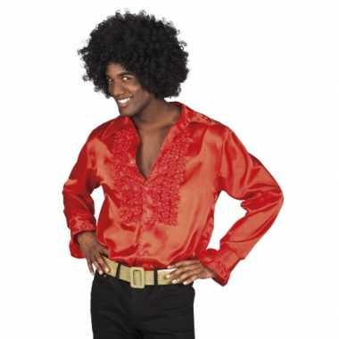 Vintage voordelige rode rouche blouse