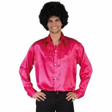 Vintage voordelige roze rouche blouse voor heren