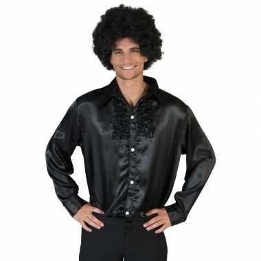 Vintage voordelige zwarte rouche blouse voor heren