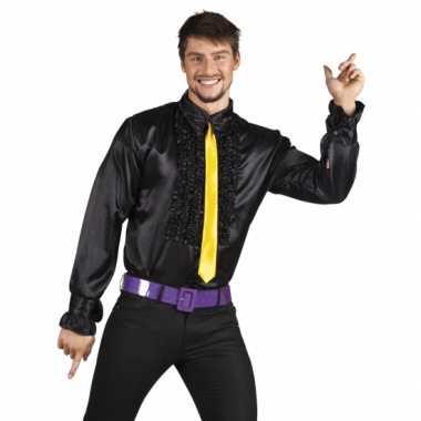 Vintage voordelige zwarte rouche blouse