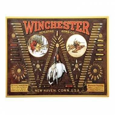 Vintage wandplaat winchester kogels