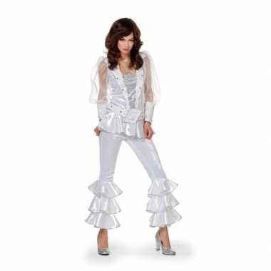 Vintage wit disco kostuum voor dames