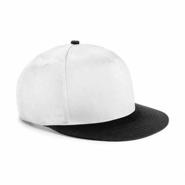 Vintage wit met zwarte kinder baseball cap