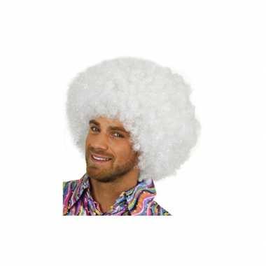 Vintage witte afro pruik