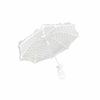Vintage witte kanten paraplu 70 cm