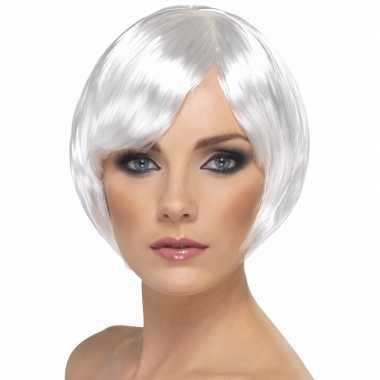 Vintage witte korte dames pruik