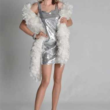 Vintage zilver pailletten dames jurkje