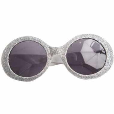 Vintage zilveren disco bril met glitters