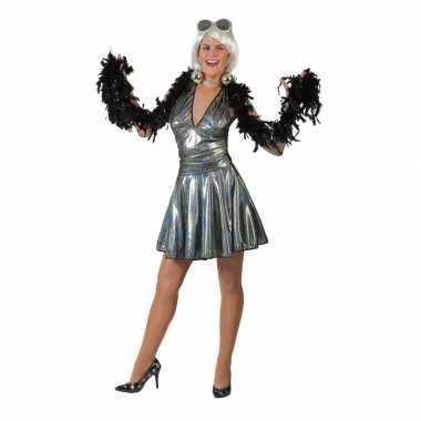 Vintage zilveren disco seventies verkleed rok met top voor dames
