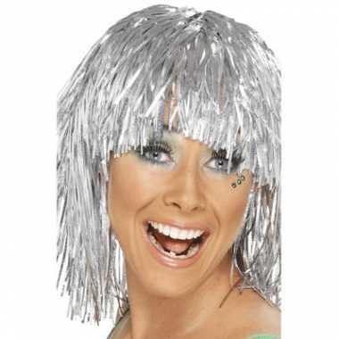 Vintage zilveren glitter folie dames pruik