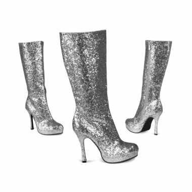 Vintage zilveren glitter laarzen met hak
