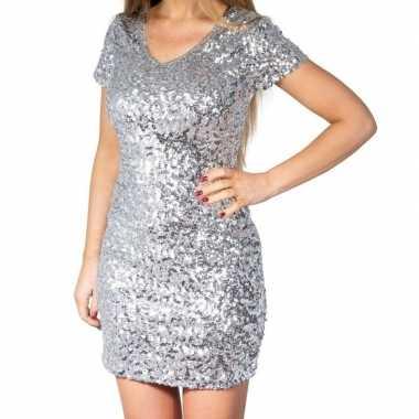 Vintage zilveren glitter pailletten disco jurkje dames