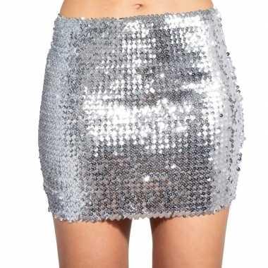Vintage zilveren glitter pailletten disco rokje dames