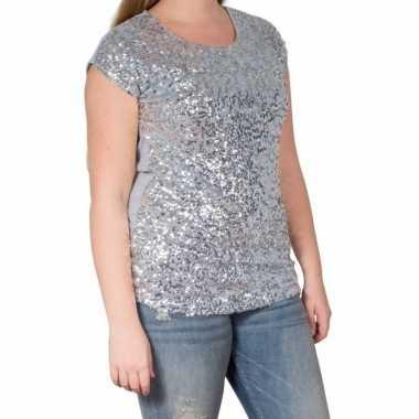 Vintage zilveren glitter pailletten disco shirt dames l/xl