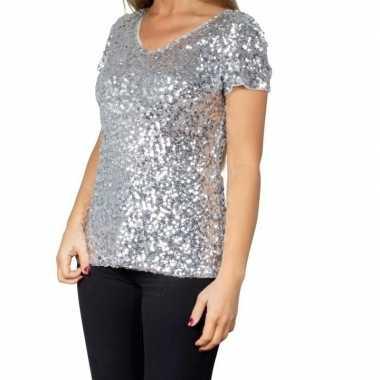 Vintage zilveren glitter pailletten disco shirt dames