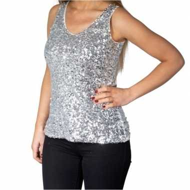 Vintage zilveren glitter pailletten disco topje/ mouwloos shirt dames
