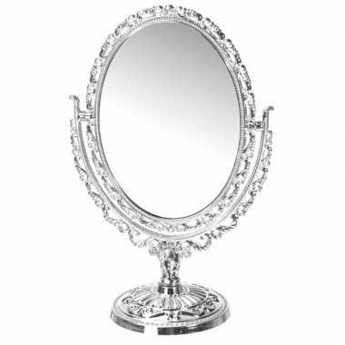 Vintage zilveren ovale make-up spiegel op voet
