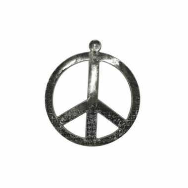 Vintage zilverkleurig peace teken 52 cm