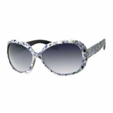 Vintage zonnebril met blauwe bloemen