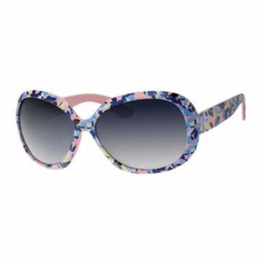 Vintage zonnebril roze met bloemen