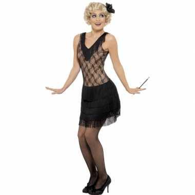 Vintage zwart/beige flapper jurkje verkleed kostuum voor dames