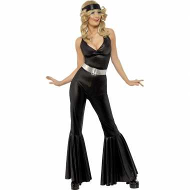 Vintage zwart disco kostuum voor dames