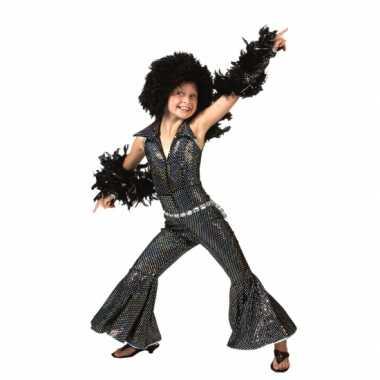 Vintage zwarte disco jumpsuit voor kinderen